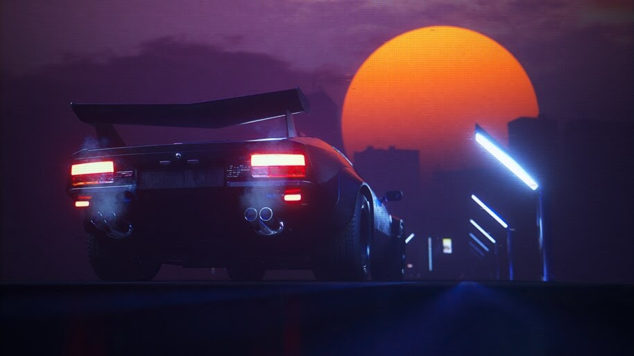 Sports Car, Night, Street Lights, Retrowave, 4K, #6.1268