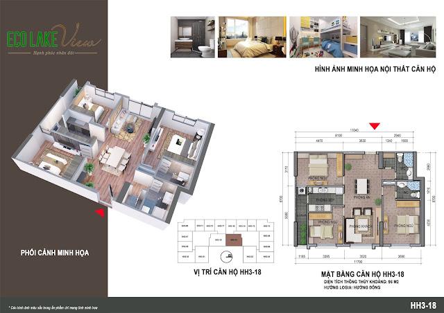 Thiết kế căn hộ số 18 tòa HH03