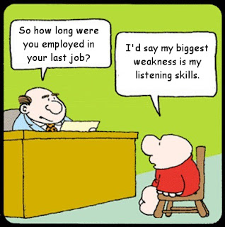 Funny listening skills job interview cartoon joke picture