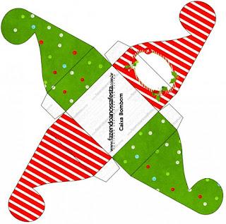 Caja para cupcakes, chocoltes o golosinas de Navidad a Rayas.