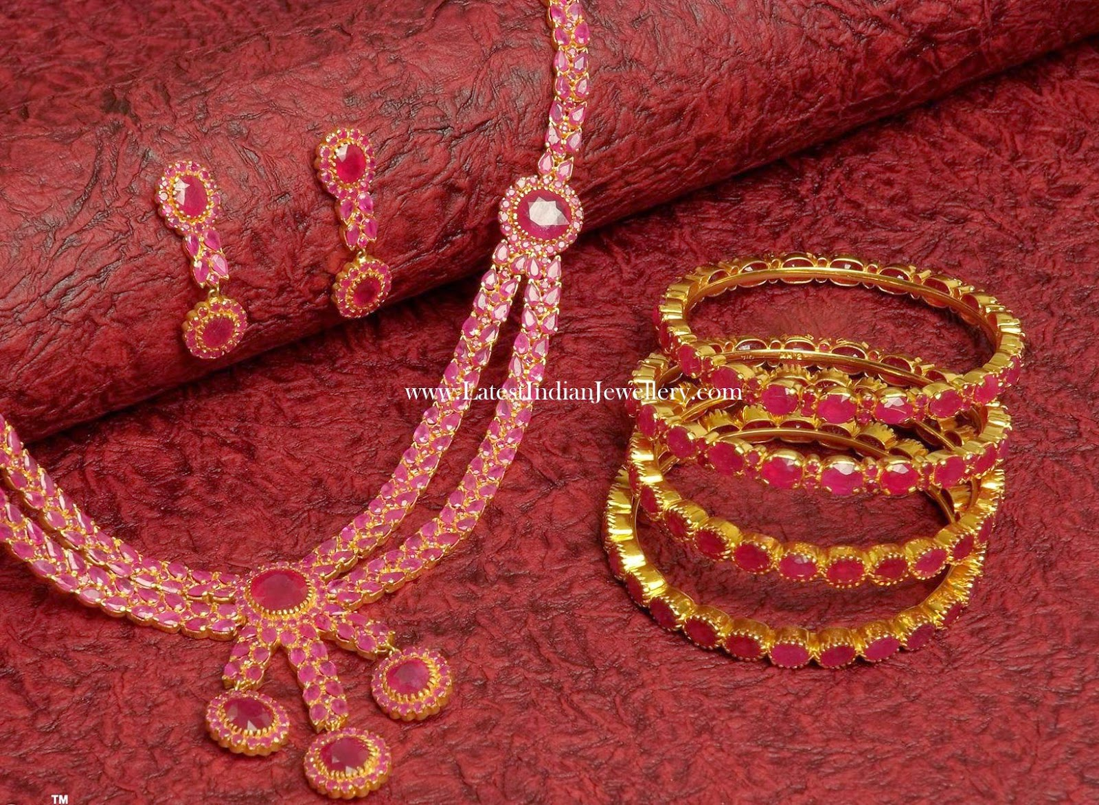 Ruby Necklace and Bangles set