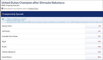 United States Champion After Shinsuke Nakamura Betting Odds
