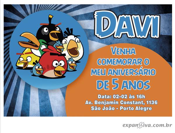 convite aniversario angly birds azul - Lindos convites de aniversário dos Angry Birds