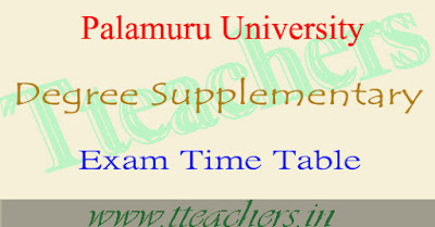 Palamuru University degree supply time table 2018-2019, Results