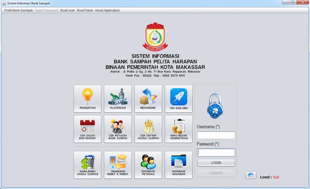 Halaman Utama Sistem Informasi Bank Sampah