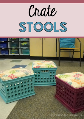 Pinterest Idea for your classroom! Seats made from crates. You can get the crates at a low cost, buy a sheet of board at a hardware store and the store might even cut the wood for you! Cute little seats!