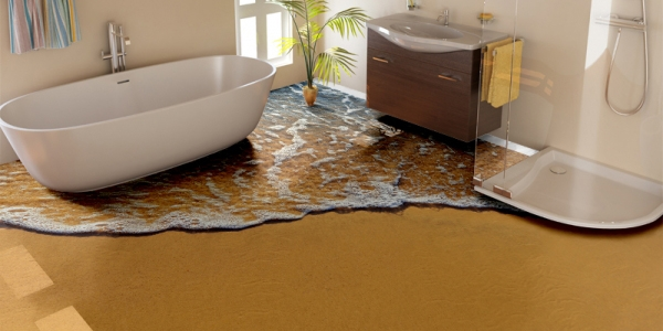 3D flooring, 3d epoxy floor, 3d bathroom floor, 3d beach floor