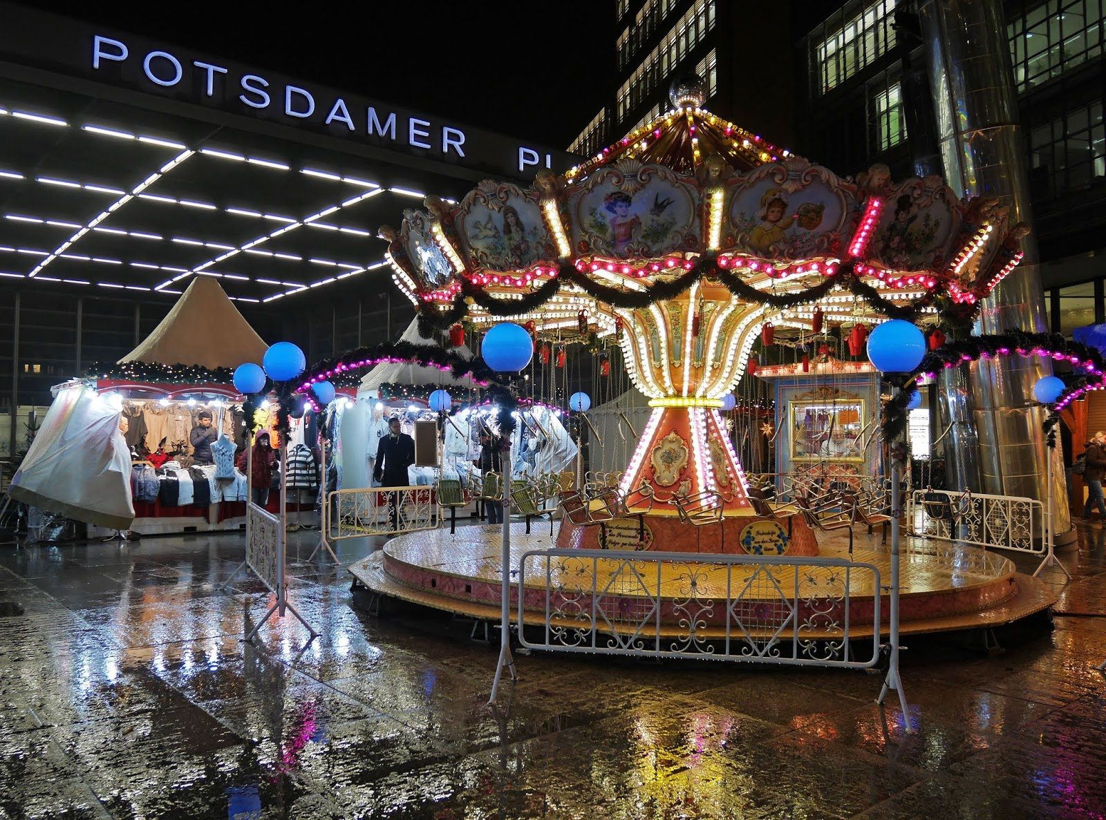 Potsdamer Platz Christmas Market at night, Berlin