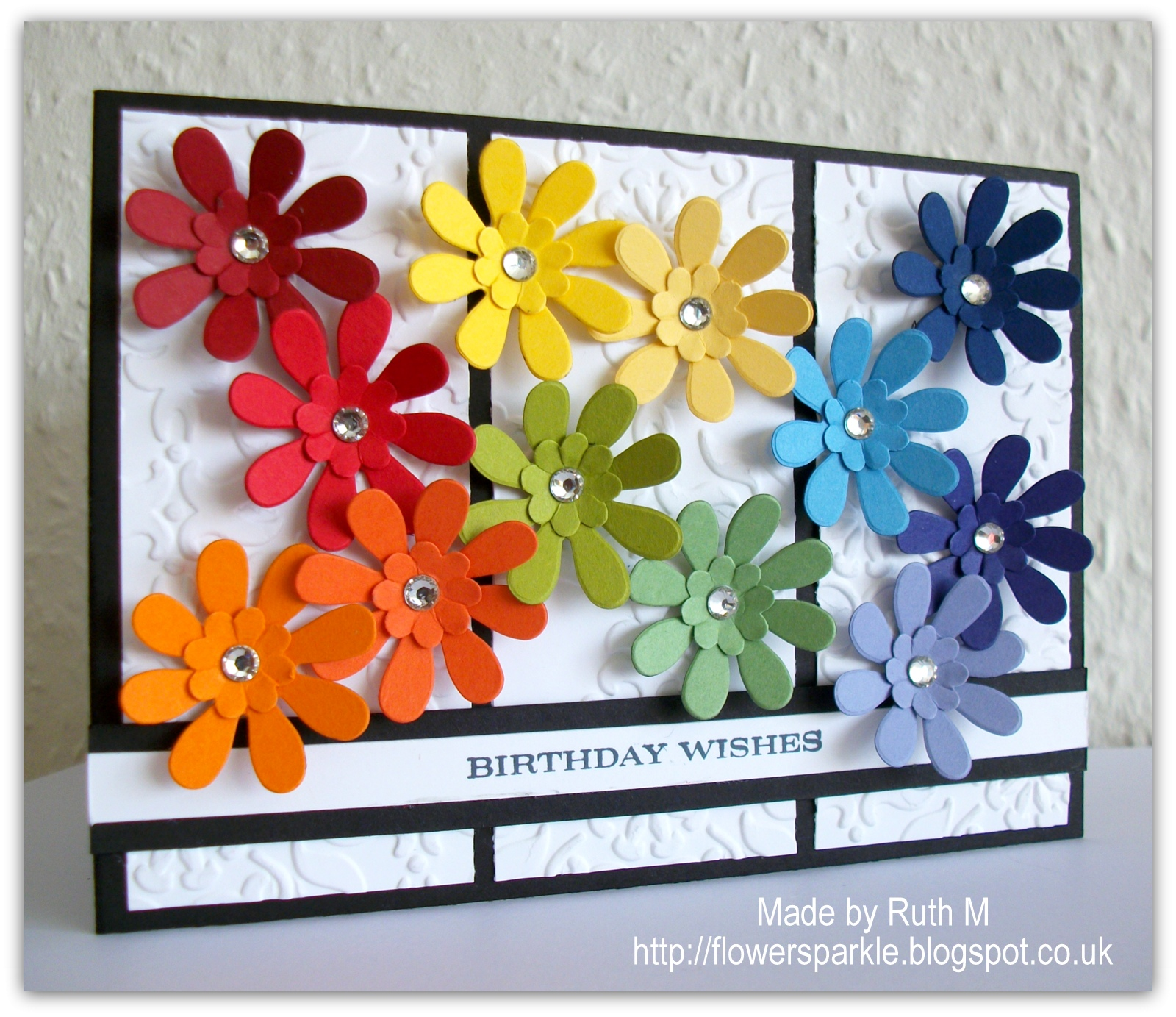Flower Sparkle: Roy G. Biv Flowers Birthday Wishes Card