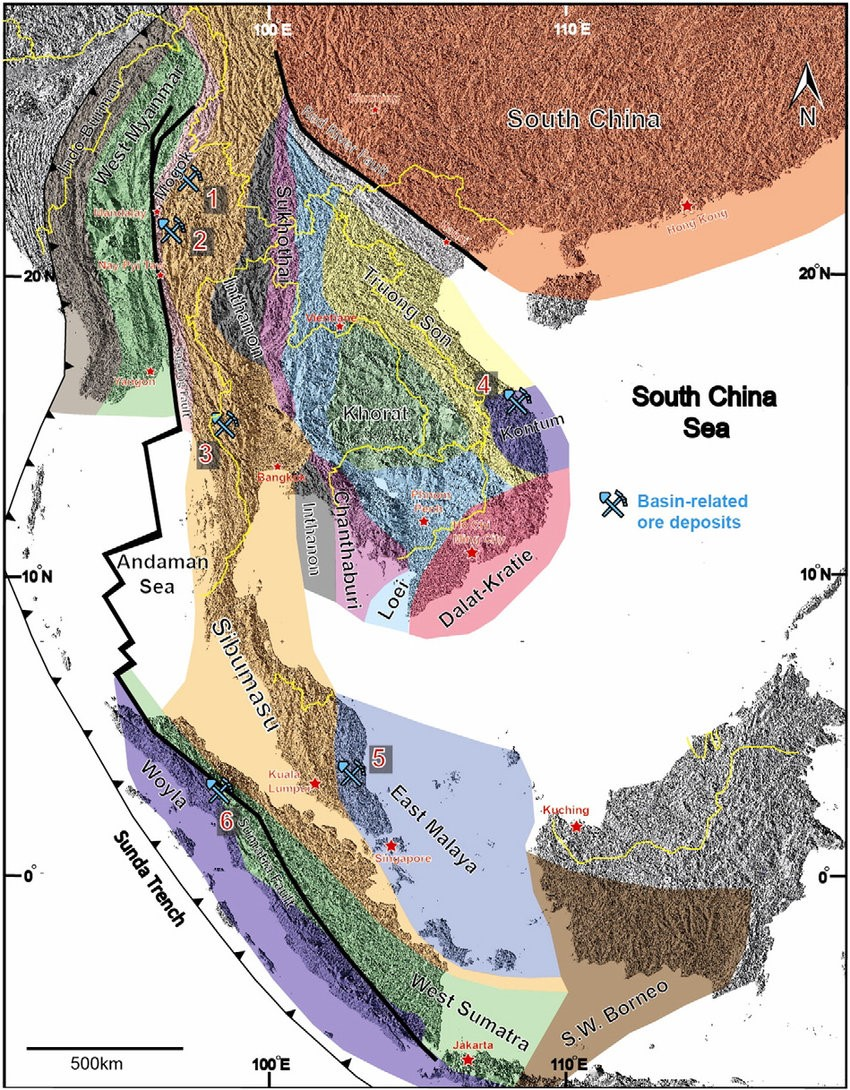 se asia regional map showing locations of the major basin related ore deposits 1 bawdwin myanmar 2 theingon myanmar 3 song tho boh yai thailand