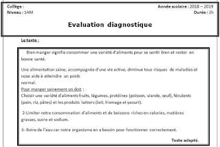 Évaluation diagnostique 1AM français 2018 word