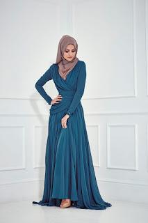Dress Muslim Anggun Biru Dongker