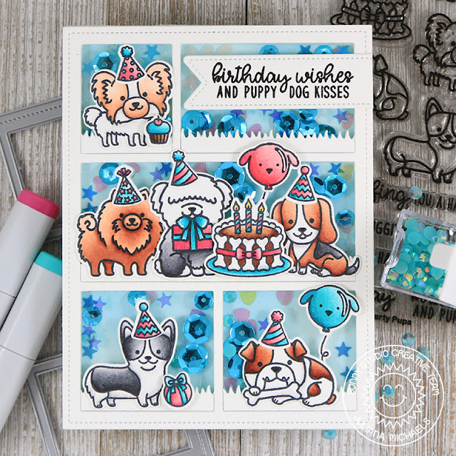 Sunny Studio Stamps: Comic Strip Everyday Dies Party Pups Birthday Shaker Card by Juliana Michaels
