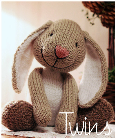 Twins Knitting Pattern Minishop Big Foot Knitted Bunny