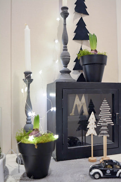 skandinaavinen sisustus kynttilänjalka hyasintti joulu