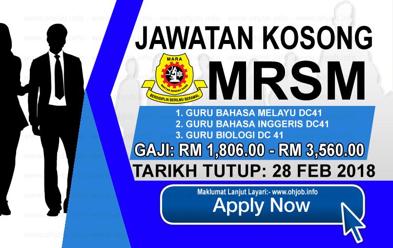 Jawatan Kerja Kosong Maktab Rendah Sains Mara - MRSM logo www.ohjob.info februari 2018