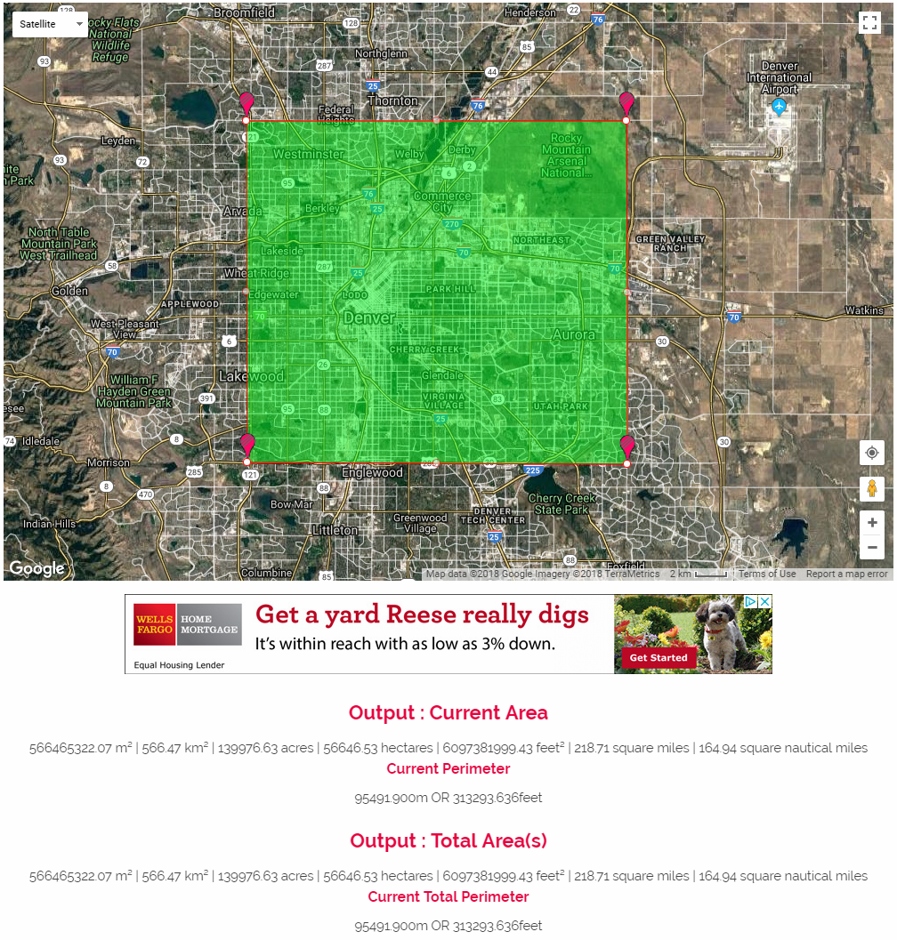 DaftLogic - 218.71 square mile square over Denver, Colorado metropolitan area