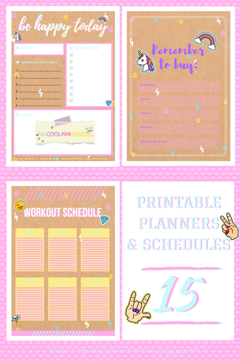 15 free printables imprimables gratuits planners agenda to-do list schedule listes design too cool for school