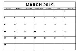 Free Printable Calendar March 2019