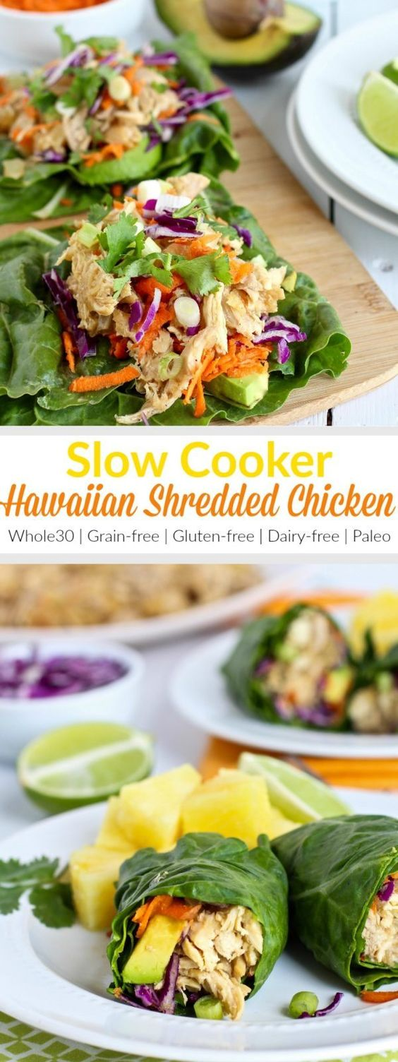 Slow Cooker Shredded Hawaiian Chicken