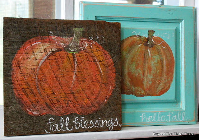 fall decor, pumpkin sign, cupboard door, hello fall, hand-lettered, barnwood, https://goo.gl/nISyuY