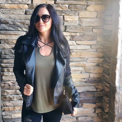 Black Leopard jacket, caged tee, prada sunglasses