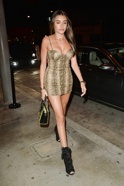 Madison Beer in Short Tight Dress
