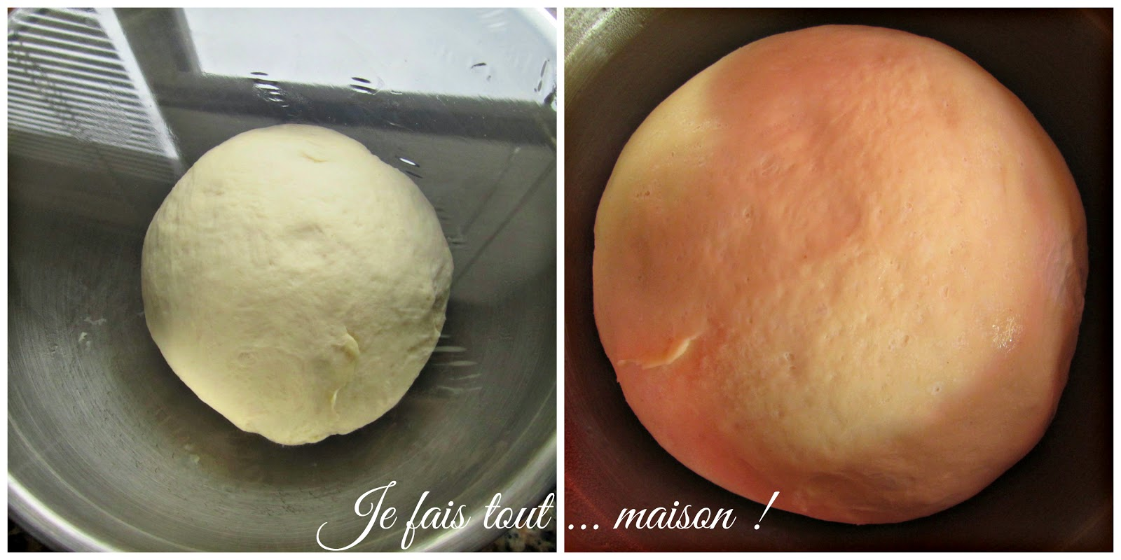 Pâte à pizza avant et après la levée au réfrigérateur