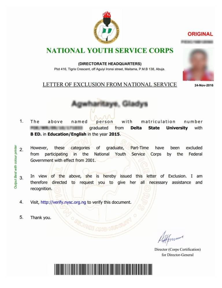 Nysc Application Letter