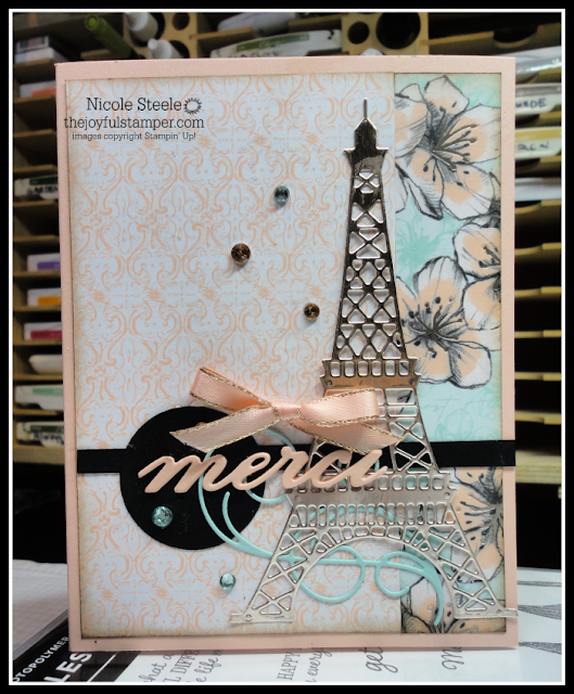 thank you/merci card featuring stampin' up!'s parisian blossoms suite | by Nicole Steele The Joyful Stamper