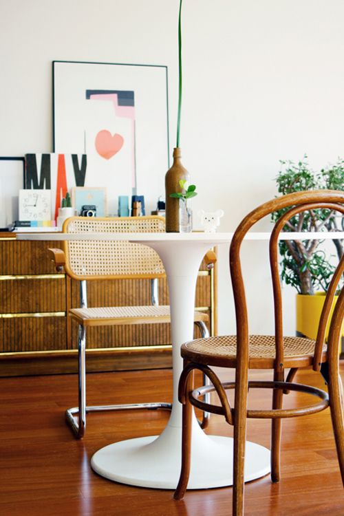 Cesca chair, Thonet chair, Tulip table