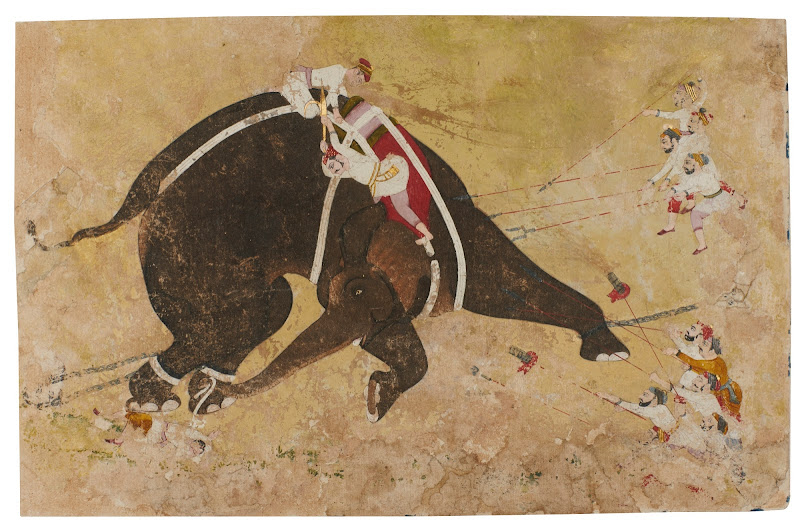 An Enraged Elephant - Rajput Painting, Mid-18th Century