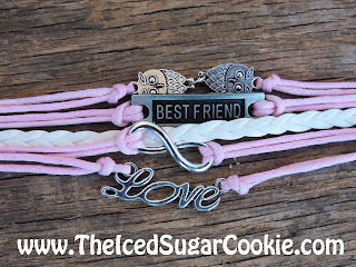 Pink White Owl Best Friend Love Bracelet by The Iced Sugar Cookie