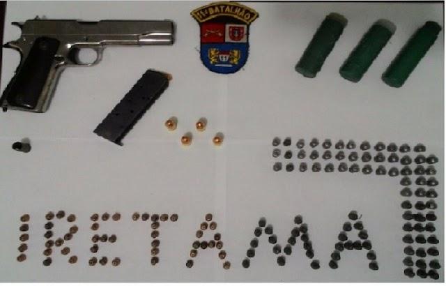 Apreensão de arma, munições e produtos de furto em Iretama
