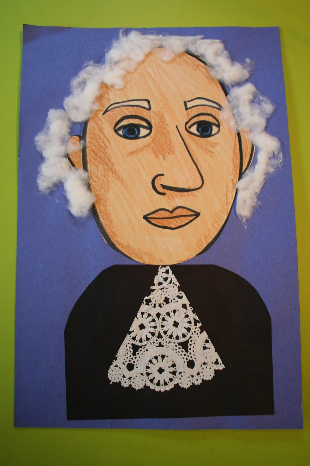 Pink And Green Mama Kid S Art Project George Washington Mixed Media Portraits