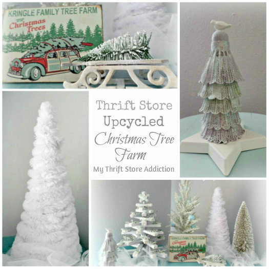 Vintage Charm Party 7 mythriftstoreaddiction.blogspot.com Feature: Thrift Store Upcycled Christmas Tree Farm
