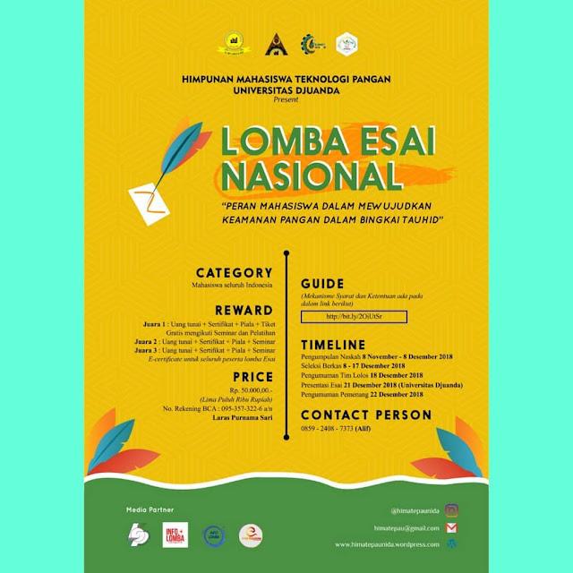 Lomba Esai Pangan Nasional 2018 Mahasiswa