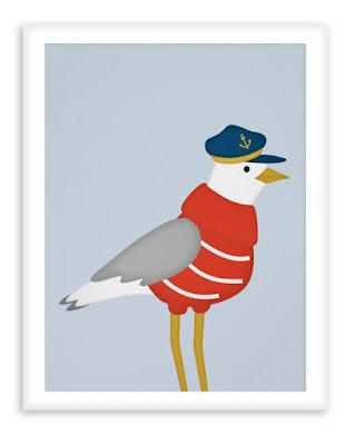Nautical Poster Sailor Seagull - Nursery Print