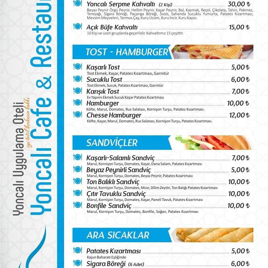 yoncali uygulama oteli kutahya kahvalti cafe restoran menu fiyat