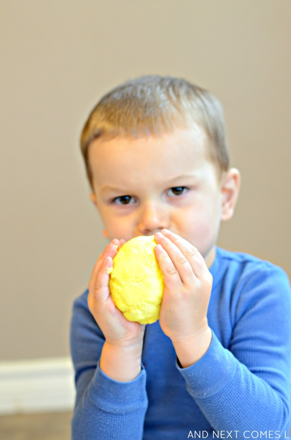 Scented sensory play - citrus easy dough inspired by the book 150+ Screen-Free Activities for Kids - from And Next Comes L
