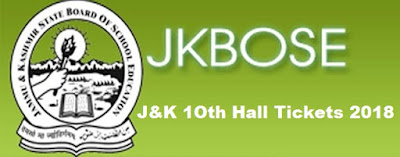 JK Board 10th Admit Card 2018 Download