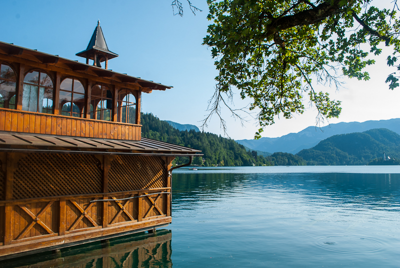 Wooden hut on lake bled, and scenery in the summer, slovenia, bled