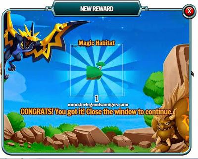 imagen del premio gratis de habitat de monster legends