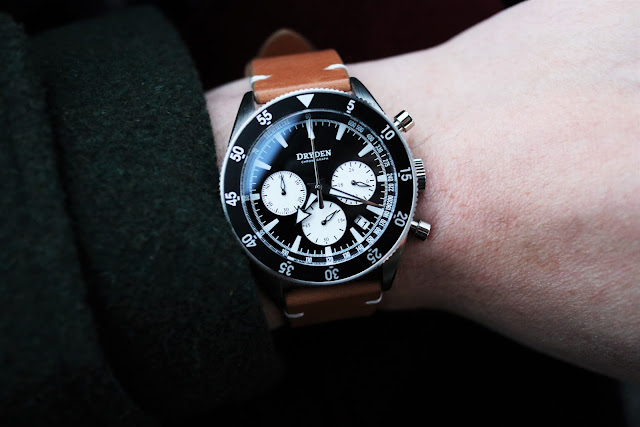 Dryden Chrono Diver black wrist shot