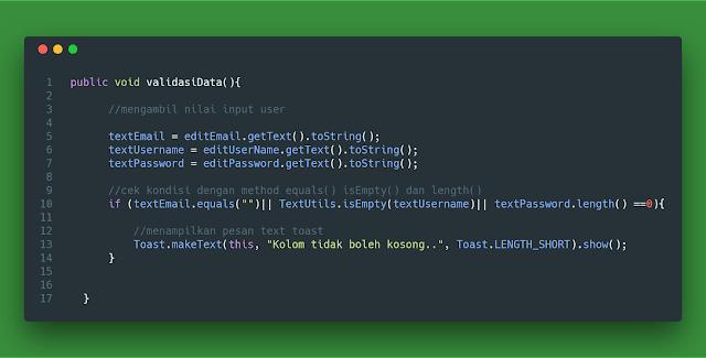 Menggunakan method .equals() , isEmpty() , dan length() , untuk cek validasi kosong atau tidak EditText android studio