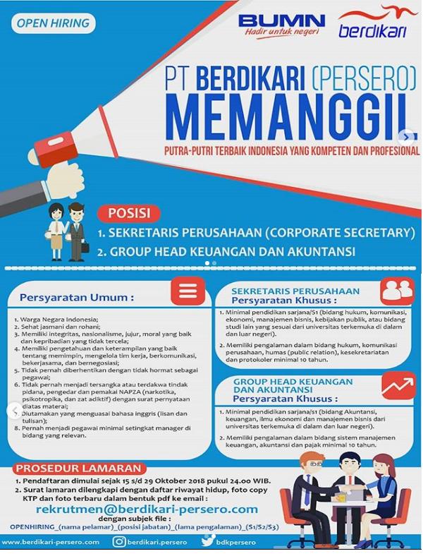 PT Berdikari (Persero) Buka Lowongan Kerja BUMN Tahun 2018