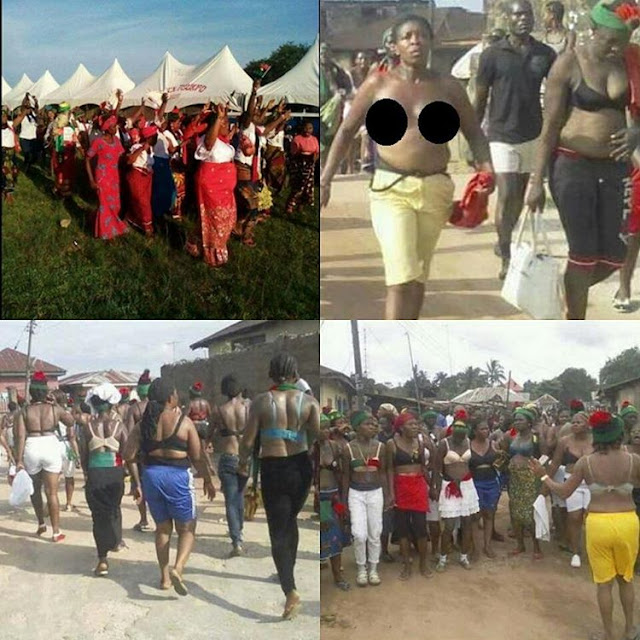 Biafra women remove clothes to protest, as soldiers disrupt their meeting