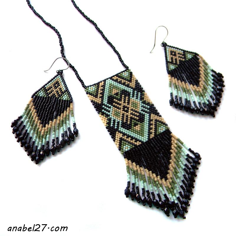 Комплект украшений в этническом стиле - кулон и серьги