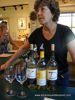 winemaker Karen Steinwachs conducts a tasting at Buttonwood Farm Winery in Solvang, California