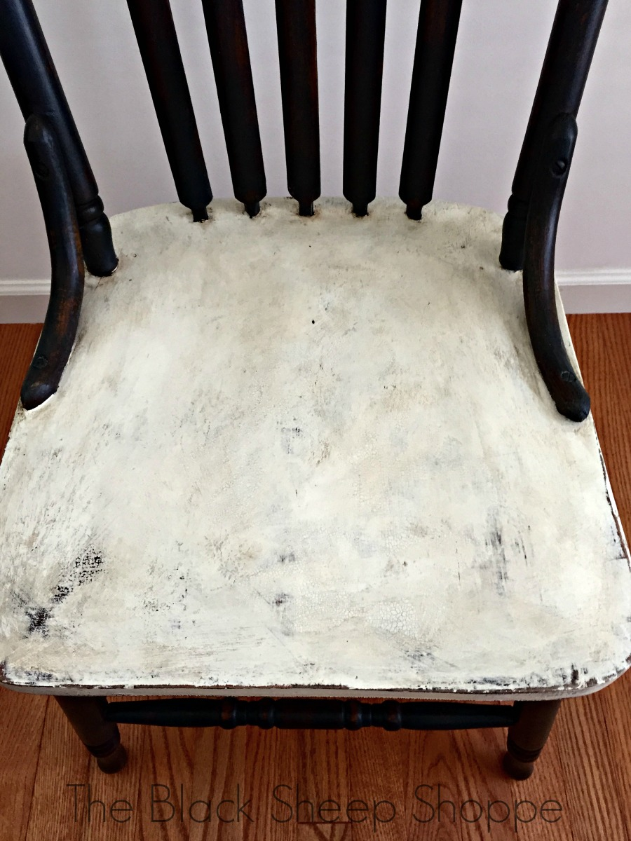 Top view of painted chair seat